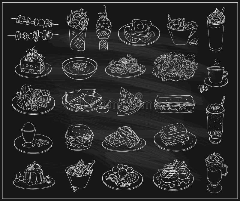 Hand getrokken lijn grafische illustratie van geassorteerde voedsel, desserts en dranken, vector geplaatste symbolen stock illustratie