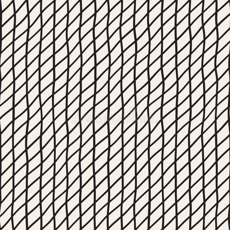 Hand Getrokken Lijnrooster Vector naadloos zwart-wit patroon stock illustratie