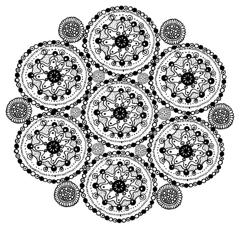 Hand getrokken mandala kleurende pagina De kunst van de Zentanglekrabbel voor volwassene royalty-vrije illustratie