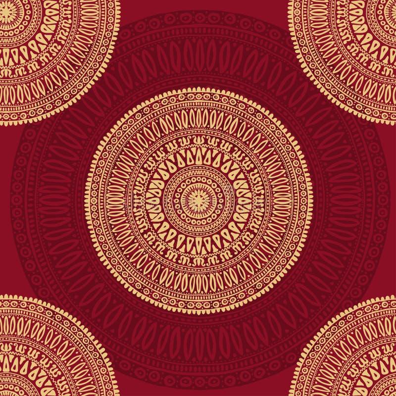 Hand getrokken mandalas naadloos patroon royalty-vrije illustratie
