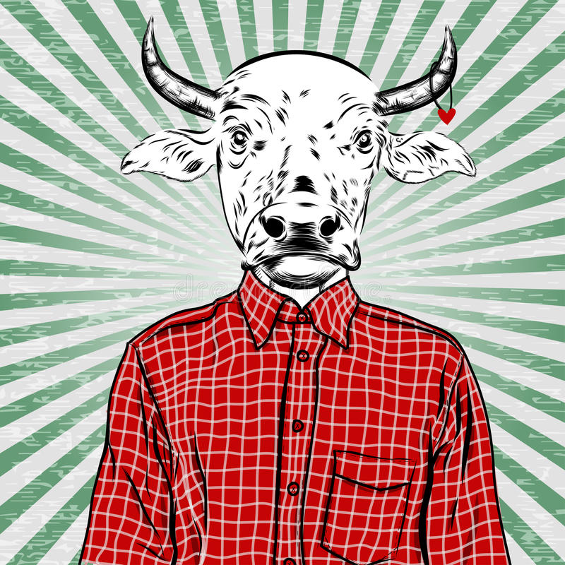 Hand Getrokken Manierillustratie van geklede omhoog stier, in kleuren Vector royalty-vrije illustratie