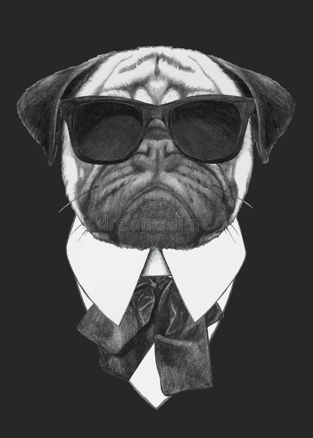 Hand getrokken manierillustratie van Pug Hond met zonnebril royalty-vrije stock afbeelding