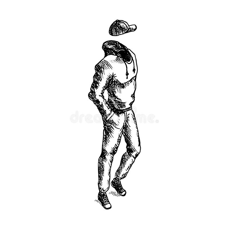 Hand getrokken mannelijke kleren op witte achtergrond Vector illustratie royalty-vrije stock foto