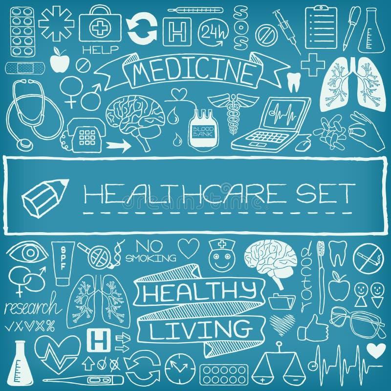 Hand getrokken medische reeks pictogrammen stock illustratie