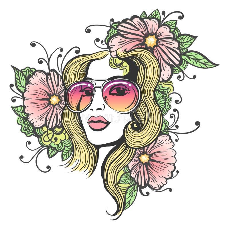 Hand Getrokken Meisjesgezicht met Bloemen stock illustratie