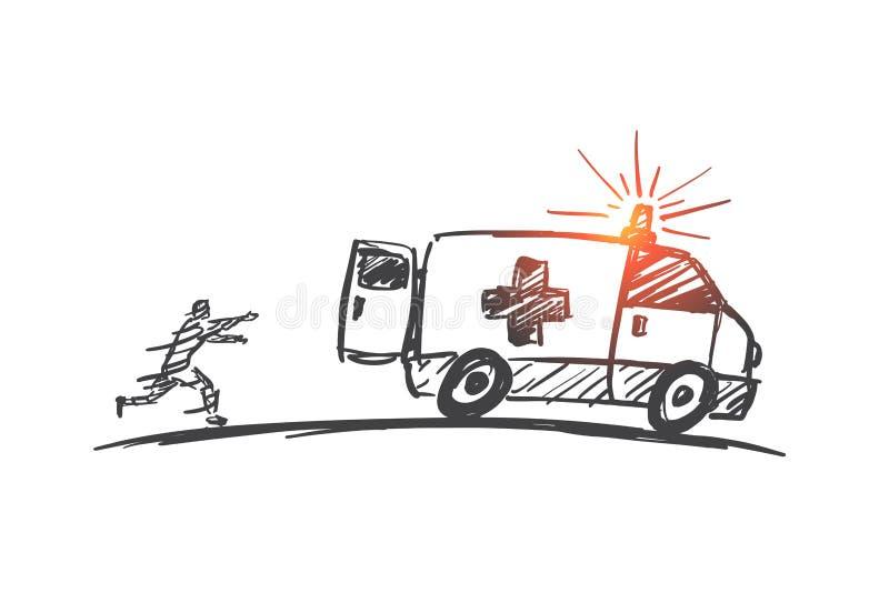 Hand getrokken mens die proberen de achterstand in te lopen ziekenwagenauto royalty-vrije illustratie