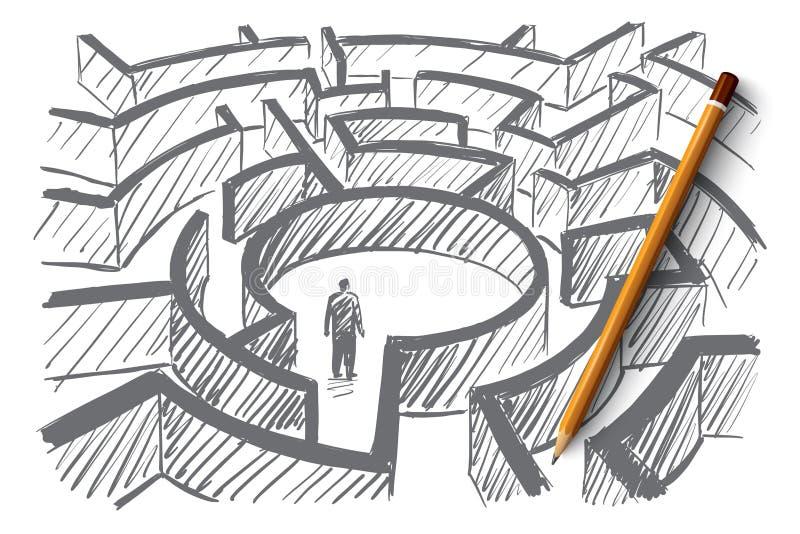 Hand getrokken mens die zich in centrum van labyrint bevindt vector illustratie
