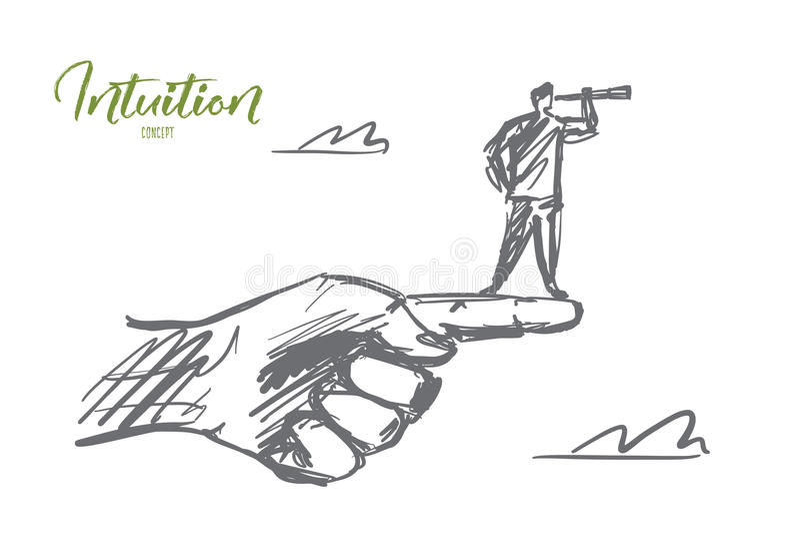 Hand getrokken mens die zich op vinger met kijker bevinden stock illustratie
