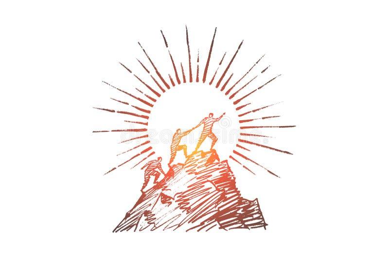 Download Hand Getrokken Mensen Die Op Berg Proberen Te Beklimmen Vector Illustratie - Illustratie bestaande uit inspanning, illustratie: 114225078