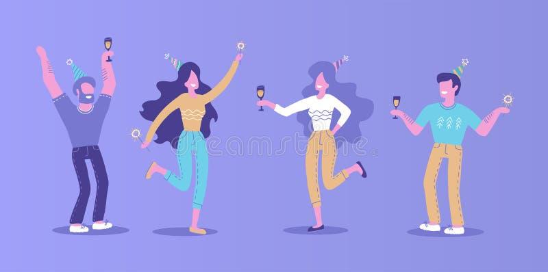 Hand getrokken Mensen op de partij Mannen en vrouwen in feestelijke hoeden met champagnesterretje in hun handen Jongens en meisje stock illustratie