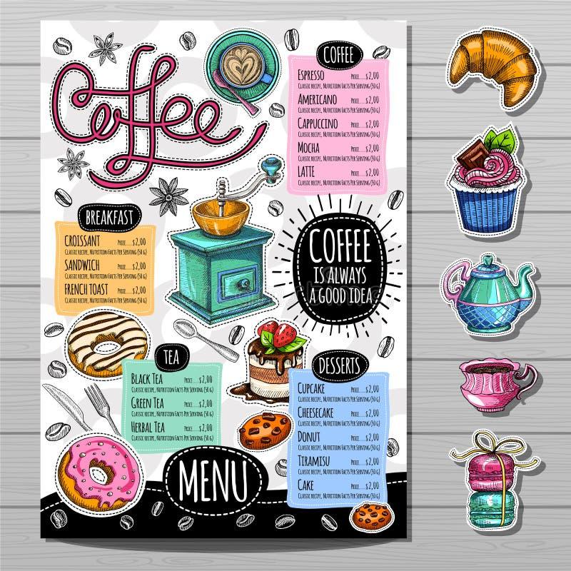 Hand getrokken menu stock illustratie