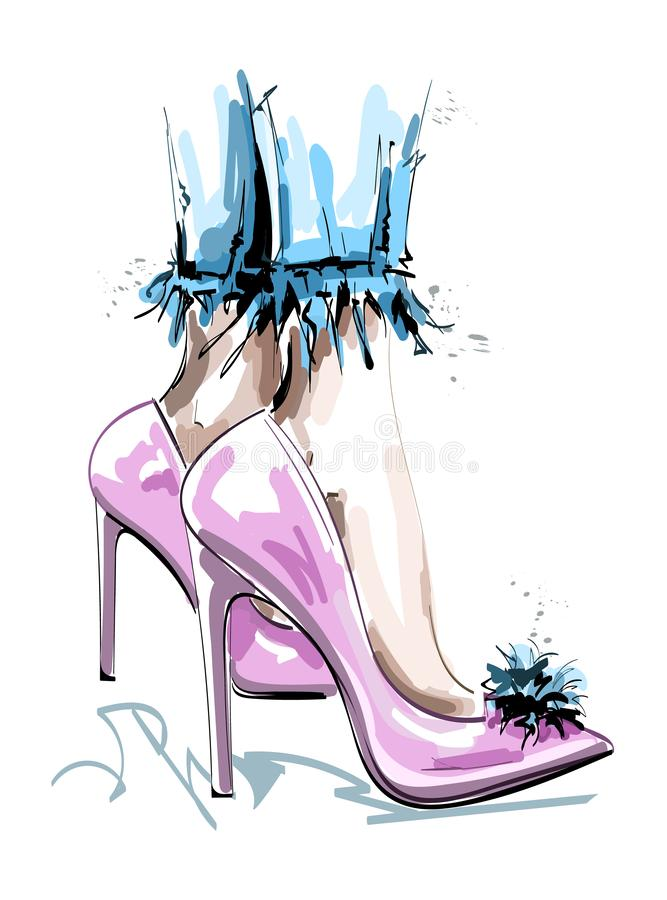 Hand getrokken modieuze roze schoenen met pom pom Vrouwelijke benen in manierschoenen schets vector illustratie