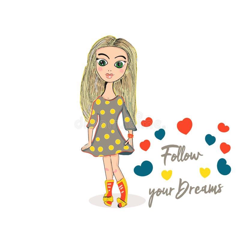 Hand getrokken mooi leuk blondemeisje met vele kleurrijke hitte Volg Uw Dromen Vector illustratie Gebruik voor druk royalty-vrije illustratie
