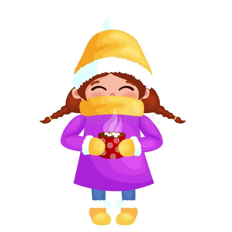 Hand getrokken mooi leuk meisje met kop van koffie in handen De wintervakantie en de Vrolijke vectorillustratie van Kerstmisjonge stock illustratie