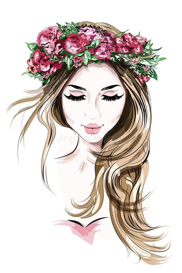 Hand getrokken mooie jonge vrouw in bloemkroon Leuk meisje met lang haar schets royalty-vrije illustratie