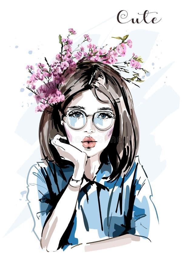 Hand getrokken mooie jonge vrouw met bloemkroon Leuk meisje vector illustratie