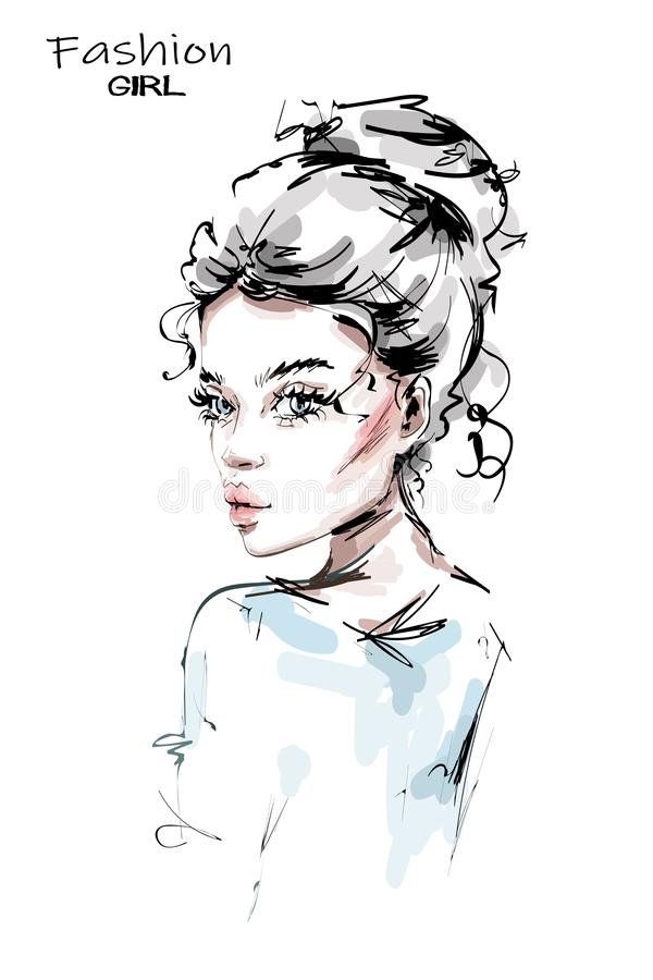 Hand getrokken mooie jonge vrouw met leuk kapsel Modieus meisje De maniervrouw kijkt stock illustratie