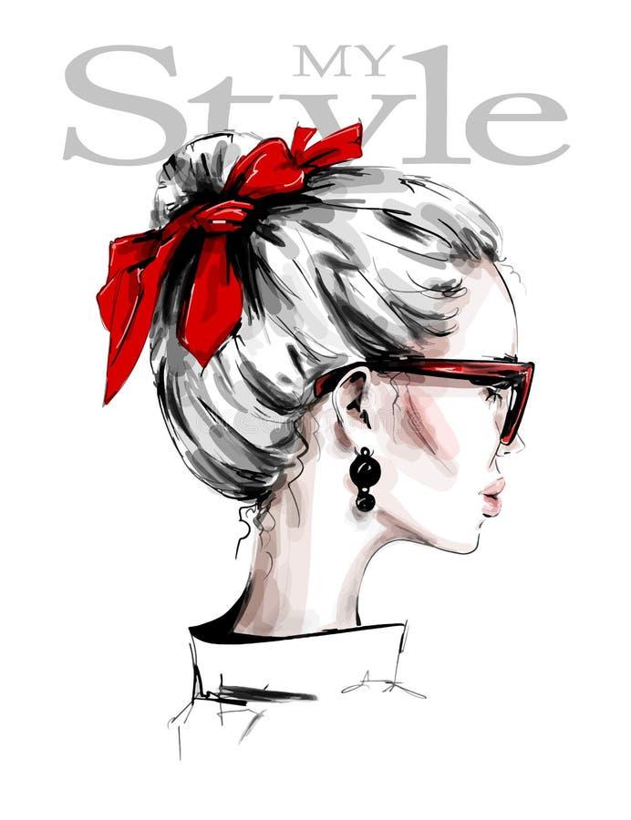 Hand getrokken mooie jonge vrouw met rode hoofdband Vrouwelijk Profiel Modieus meisje in zonnebril De maniervrouw kijkt Rode Boog vector illustratie