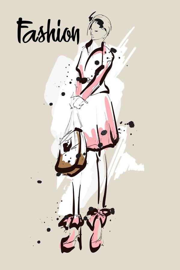 Hand getrokken mooie jonge vrouw Modieus meisje De Schets van de maniervrouw Mannequin Girl vector illustratie