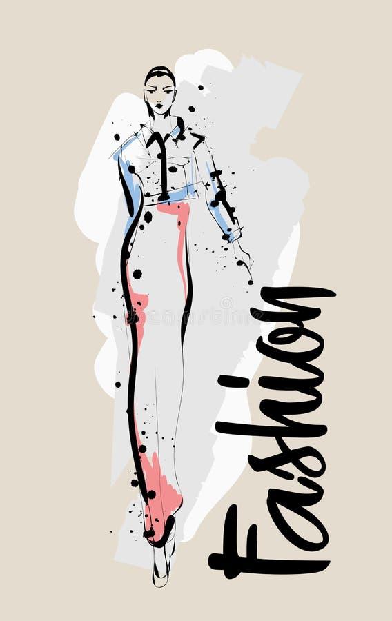 Hand getrokken mooie jonge vrouw Modieus meisje De Schets van de maniervrouw Mannequin Girl royalty-vrije illustratie