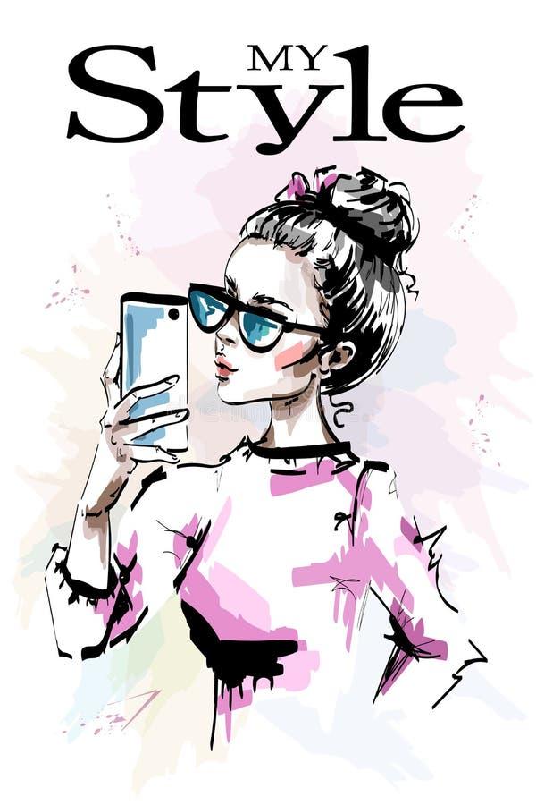 Hand getrokken mooie jongelui met telefoon in haar hand Modieus elegant meisje in zonnebril Maniervrouw die selfie maken stock illustratie