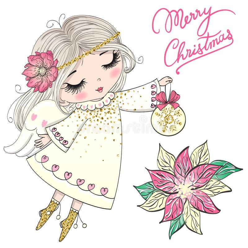 Hand getrokken mooie leuk weinig meisje van de Kerstmisengel met een bloem vector illustratie