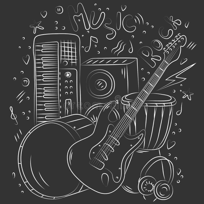 Hand getrokken muziekachtergrond De muzikale instrumenten van de krabbel Retro muzikale apparatuur vector illustratie