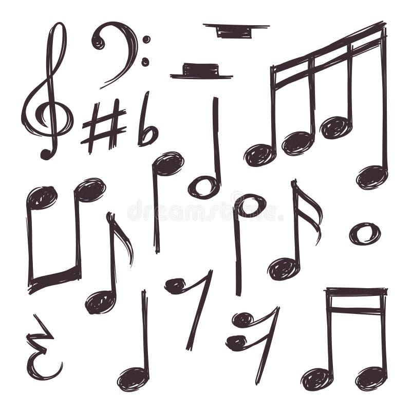 Hand getrokken muzieknota Vector muzikale die symbolen bij de witte krabbelinzameling worden geïsoleerd vector illustratie