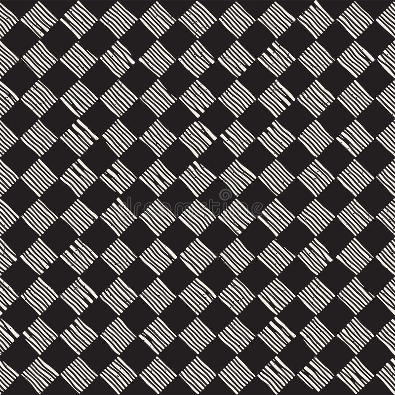 Hand getrokken naadloos het herhalen patroon met controleurslijnen het betegelen Grungy textuur als achtergrond uit de vrije hand stock fotografie