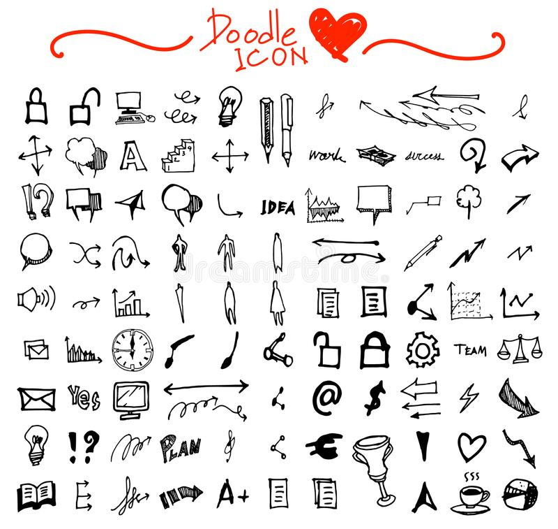 Hand getrokken naadloos krabbelpatroon met bedrijfssymbolen eps10 stock illustratie