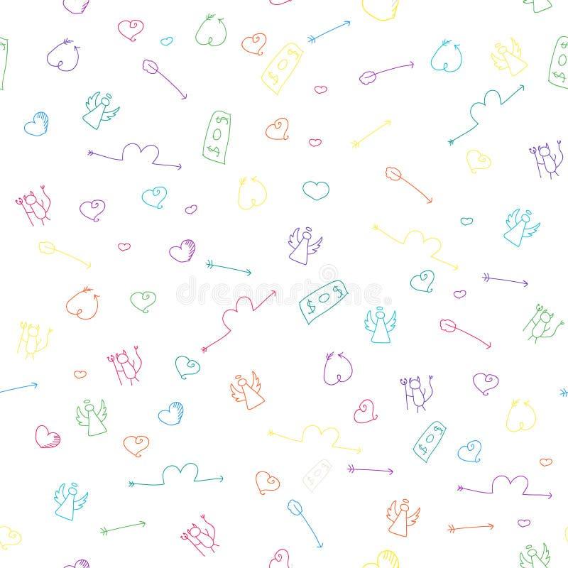 Hand getrokken naadloos patroon vector illustratie