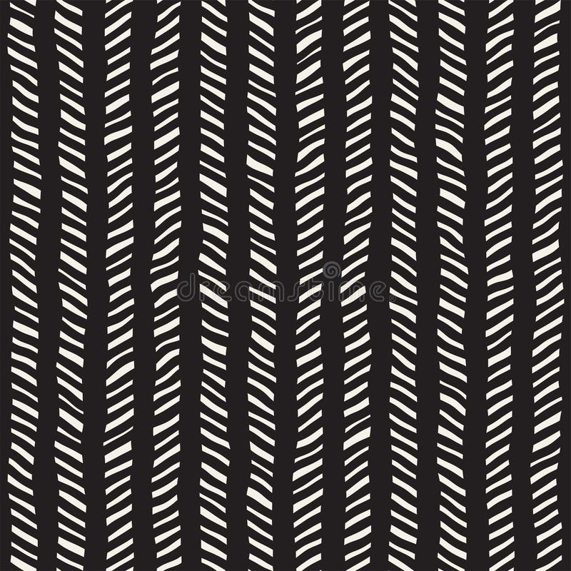 Hand getrokken naadloos patroon Abstracte geometrische het betegelen achtergrond in zwart-wit Het vector modieuze rooster van de  royalty-vrije stock fotografie