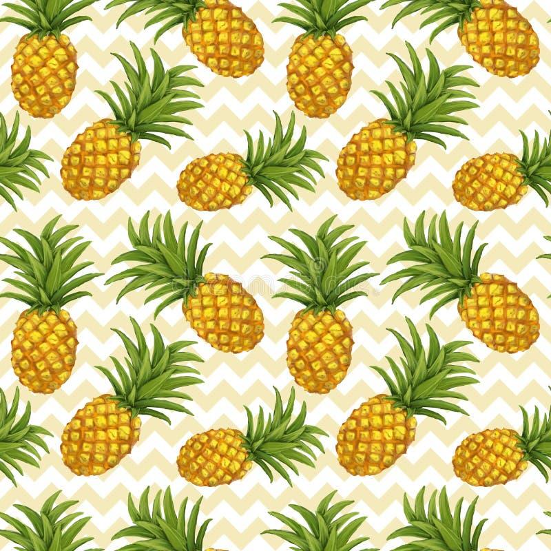 Hand getrokken naadloos patroon met ananas stock illustratie