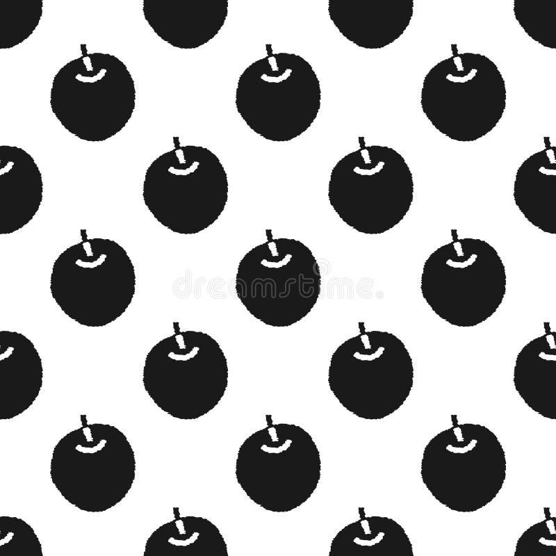 Hand getrokken naadloos patroon met appelen stock illustratie