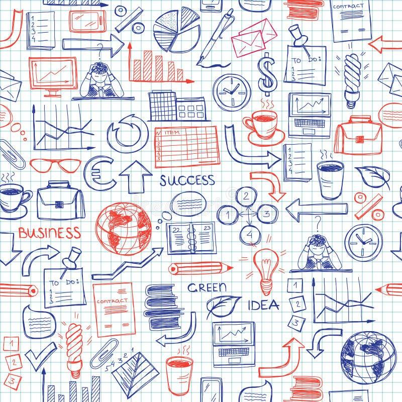 Hand getrokken naadloos patroon met bedrijfssymbolen royalty-vrije illustratie