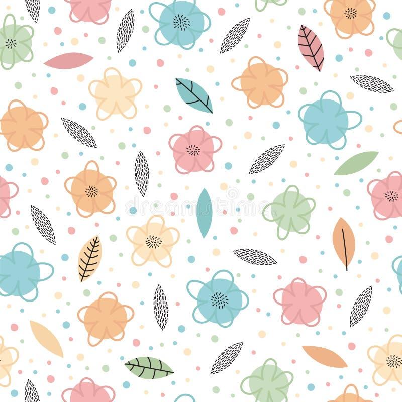 Hand getrokken naadloos patroon met bloemen en bladeren In creatief grafisch ontwerp Leuke bloemenachtergrond stock illustratie