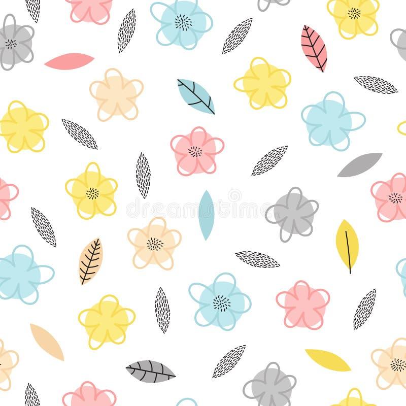 Hand getrokken naadloos patroon met bloemen en bladeren Leuke bloemenachtergrond In creatief grafisch ontwerp royalty-vrije illustratie