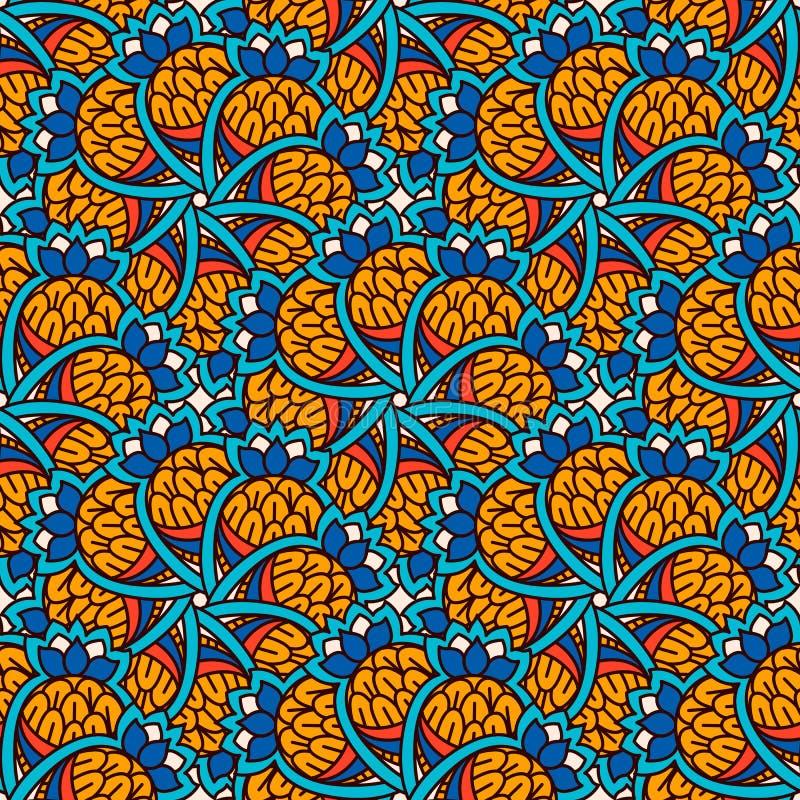 Hand getrokken naadloos patroon met bloemenelementen Kleurrijke etnische achtergrond royalty-vrije illustratie