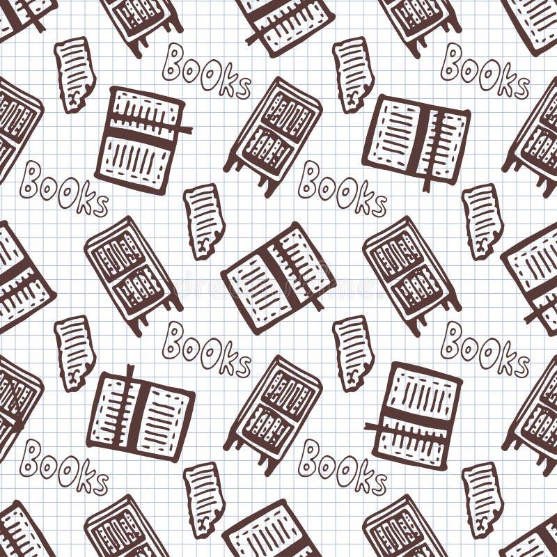 Hand getrokken naadloos patroon met boeken en boekenkast De achtergrond van de schoolbibliotheek vector illustratie