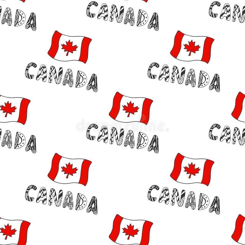 Hand getrokken naadloos patroon met de vlag van Canada en krabbel het van letters voorzien Canadese achtergrond met nationale vla stock illustratie