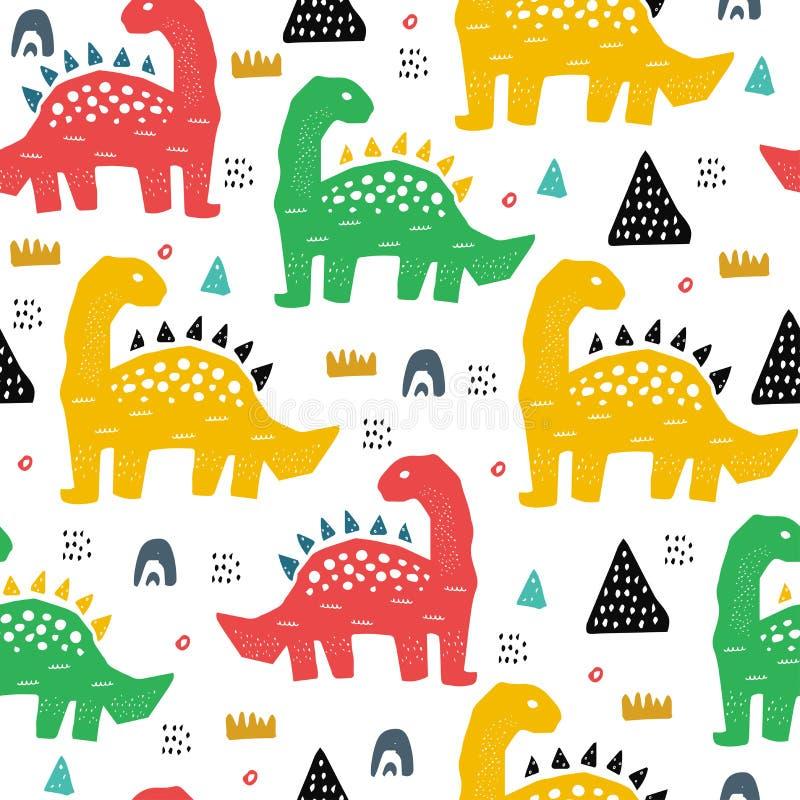 Hand getrokken naadloos patroon met dinosaurus in de wilde safari meest firest Leuke illustratie voor kinderdagverblijf, textiel, vector illustratie