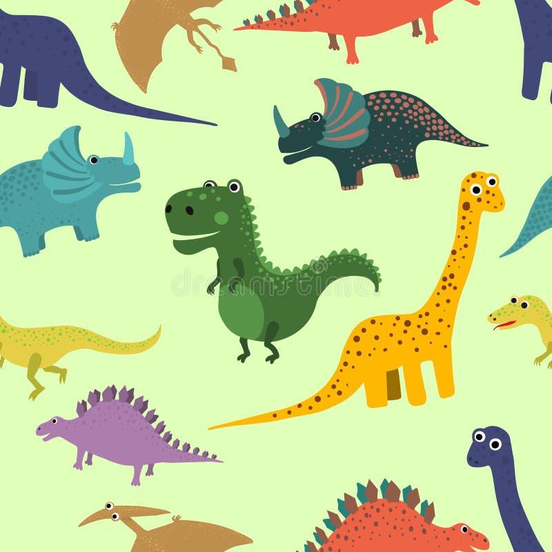 Hand getrokken naadloos patroon met dinosaurussen Perfectioneer voor jonge geitjes stof, textiel, kinderdagverblijfbehang Vector  royalty-vrije illustratie