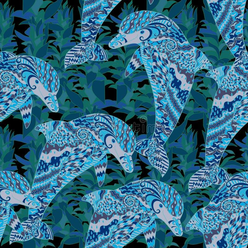 Hand getrokken naadloos patroon met dolfijn vector illustratie