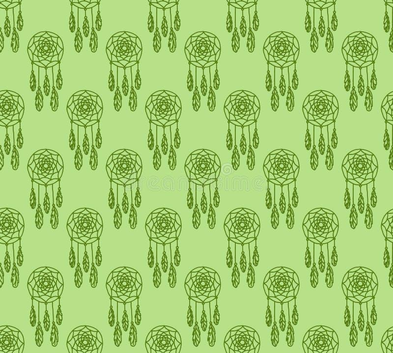 Hand getrokken naadloos patroon met inheemse Amerikaanse dreamcatcher stock illustratie
