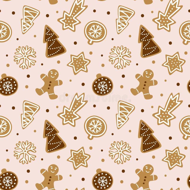 Hand getrokken naadloos patroon met koekje Leuke peperkoek die behang herhalen royalty-vrije illustratie