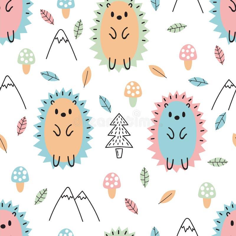 Hand getrokken naadloos patroon met leuke beeldverhaalegels De achtergrond van jonge geitjes Kinderachtige ontwerptextuur voor st royalty-vrije illustratie