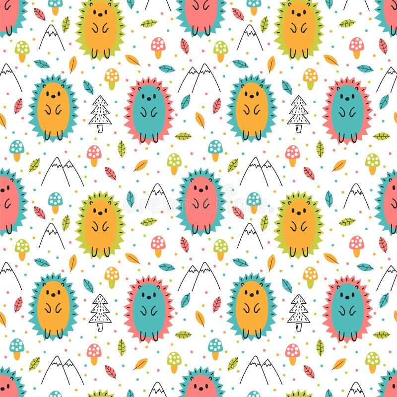 Hand getrokken naadloos patroon met leuke beeldverhaalegels Kinderachtige ontwerptextuur voor stof, het verpakken, textiel, decor stock illustratie