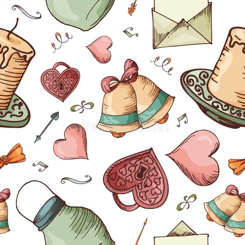 Hand getrokken naadloos patroon met liefdeelementen Vectorschetsillustratie voor valentijnskaart, huwelijk, sparen de datum stock illustratie