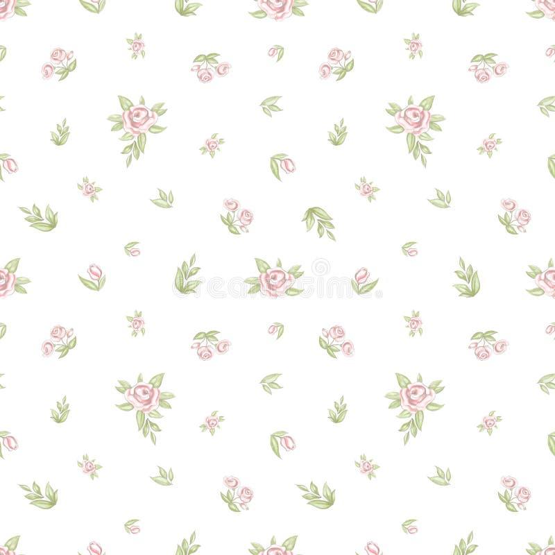 Hand getrokken naadloos patroon met rozenbloemen en bladeren royalty-vrije illustratie