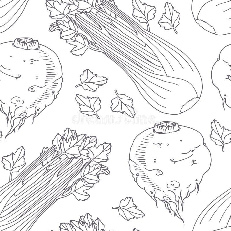 Hand getrokken naadloos patroon met selderie Zwart-wit achtergrond in schetsstijl vector illustratie